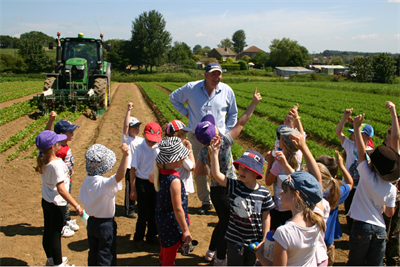 A school visiting another arable farm
